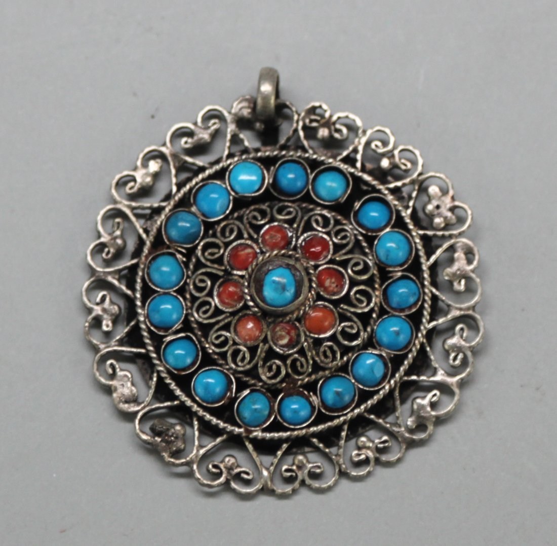 Tibetan Round Pendant With Coral and Turquoise