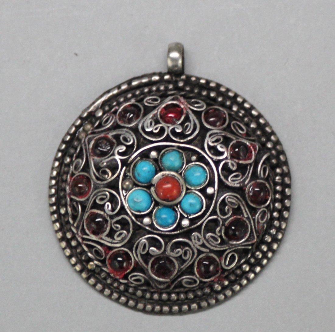 Nepal Coral and Lapis Round Pendant with mark