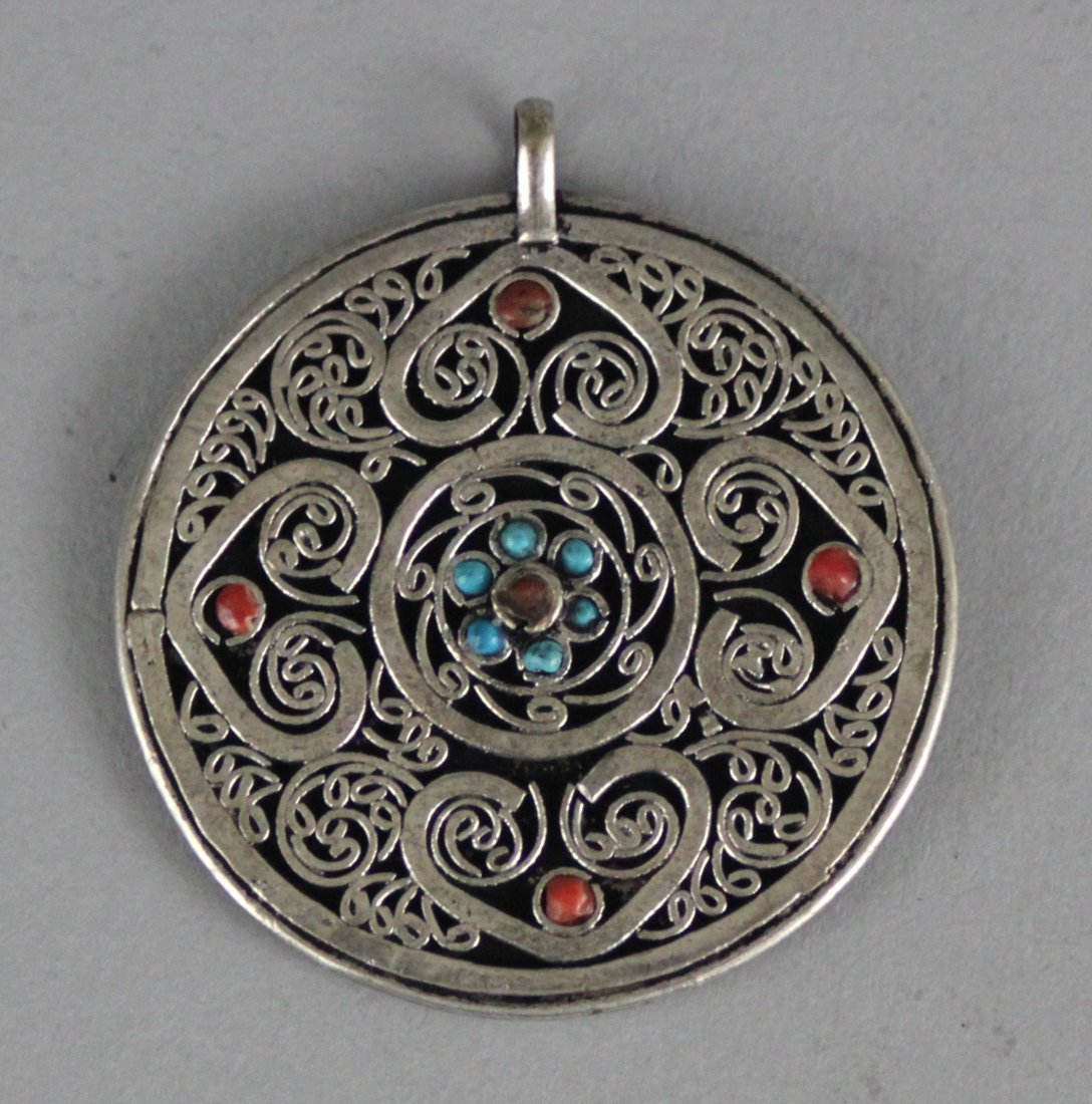 Nepal Coral And Lapis Round Pendant