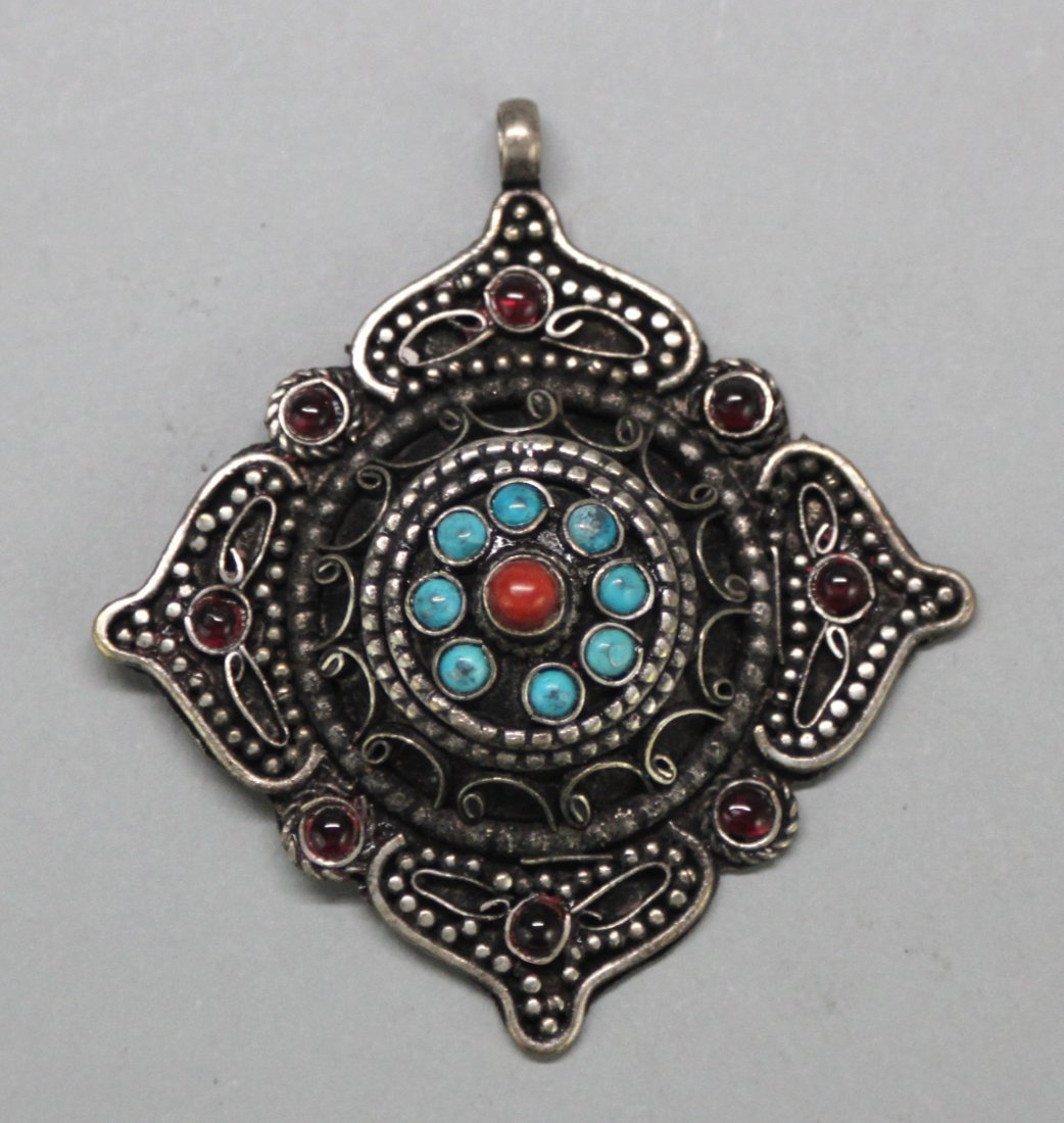 Nepal Tibetan Turquoise and Coral Pendant