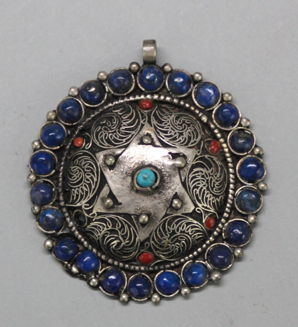 Nepal Tibetan Lapis, Turquoise and Coral Pendant