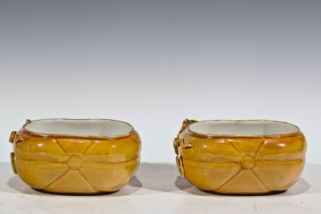 PAIR OF CHINESE ANTIQUE YELLOW PORCELAIN BOWLS