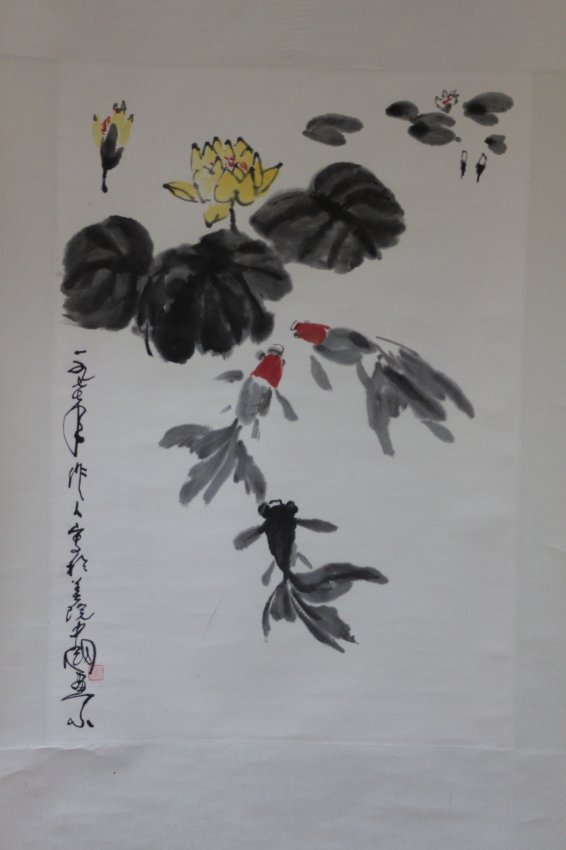 Chinese Pen & Ink Scroll Painting Goldfish in Pond