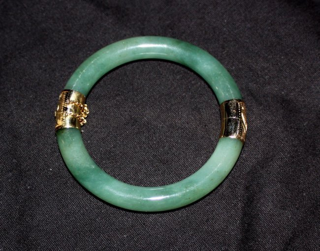 Chinese Antique Green Jade Bangle 14K Gold