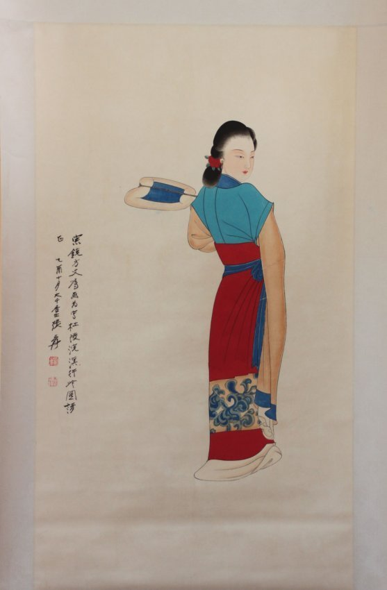 Chinese Pen & Ink Scroll Painting Beauty in Red Dress
