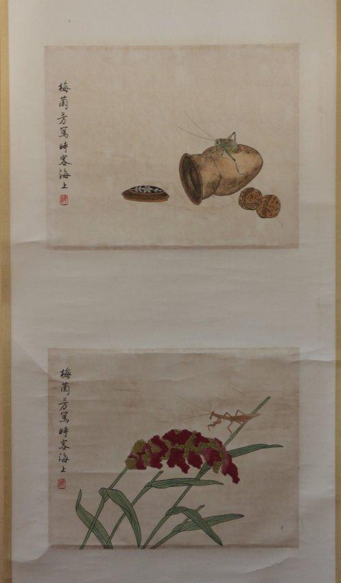 Chinese Pen & Ink Scroll Painting Praying Mantis