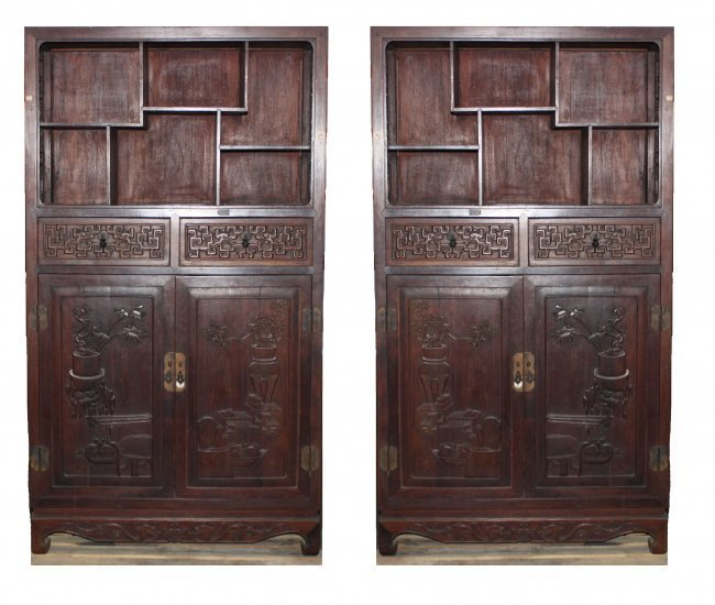 Antique Chinese pair Rosewood Display cabinets