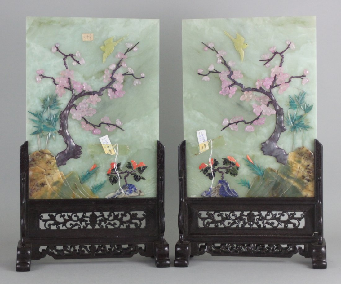 Pair of Chinese Jade Plum Tree Flower table screens