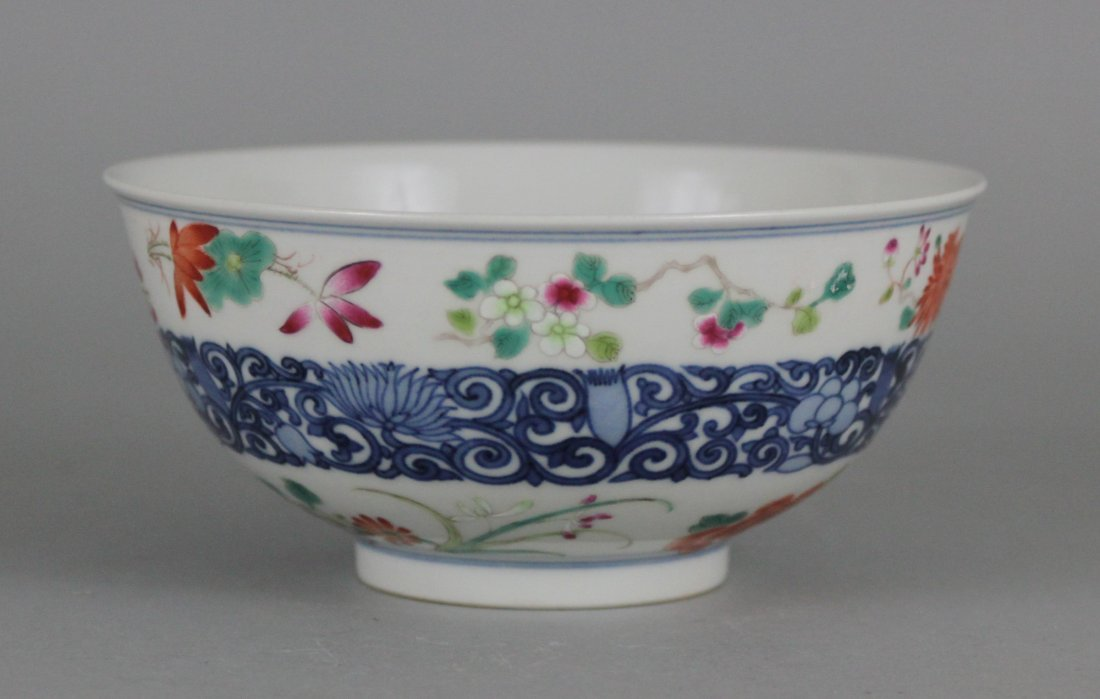Chinese Porcelain Famile Rose Blue & White Floral Bowl