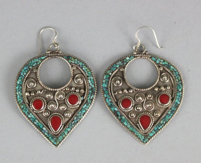 Nepal Tibetan Earrings W Turquoise & Coral Beads