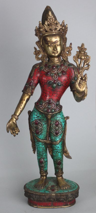 Nepal Tibetan Standing Goddess w Gilded Crown & Object