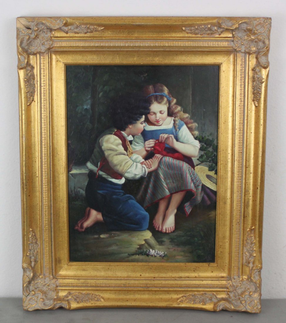 Framed Oil Painting Two Children Signed