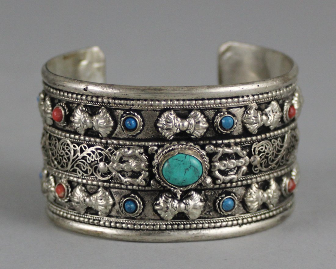 Tibetan Nickel Silver Bangle Bracelet w/ Cabachon Stone