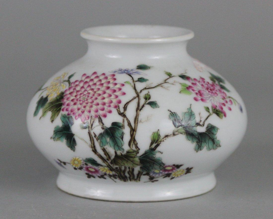 Chinese Porcelain Squat Chrysanthemum Vase