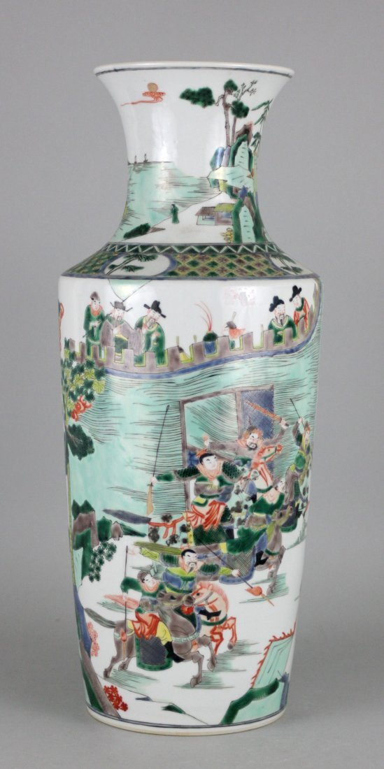 Antique Chinese Vase with Many Warriors & Castle