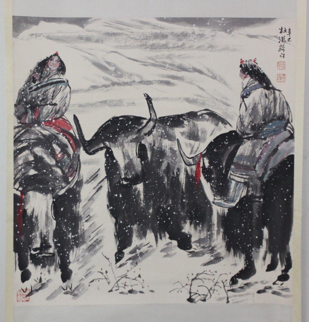 Chinese Pen & Ink Scroll Painting Women Riding Buffaloe