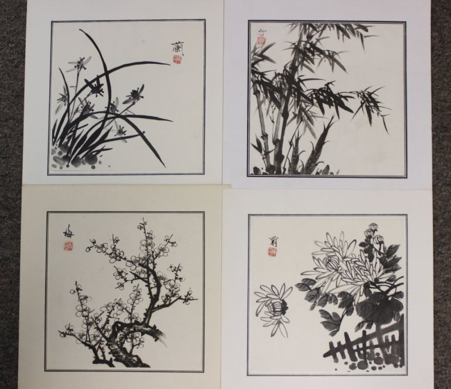 Set of Four Chinese Pen & Ink Bamboo Paintings