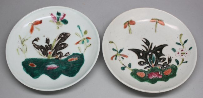 Pair Antique Chinese Porcelain Plates Butterfly
