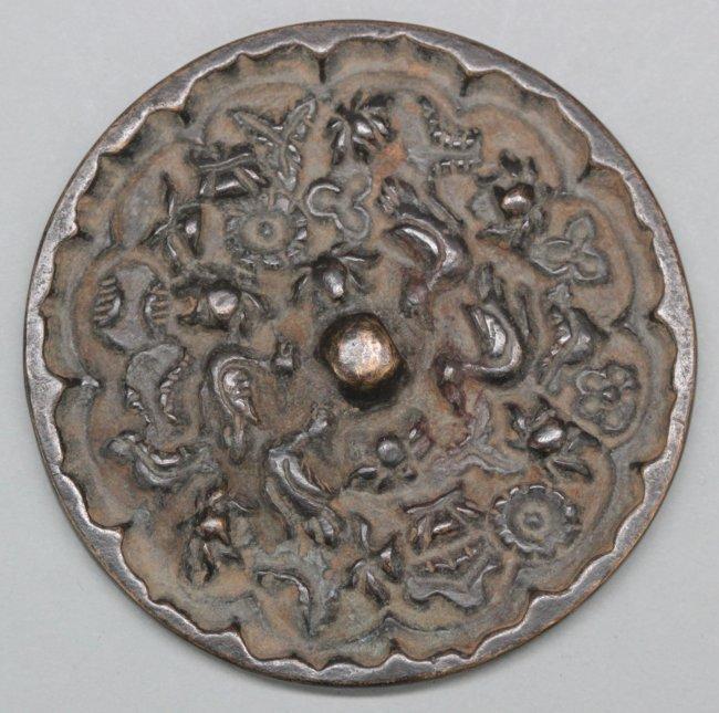 Antique Chinese Bronze Mirror Engraved Birds