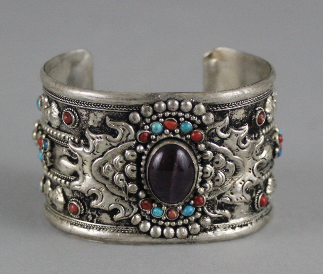 Tibetan Nickel Silver Bangle Bracelet Black Cabachon