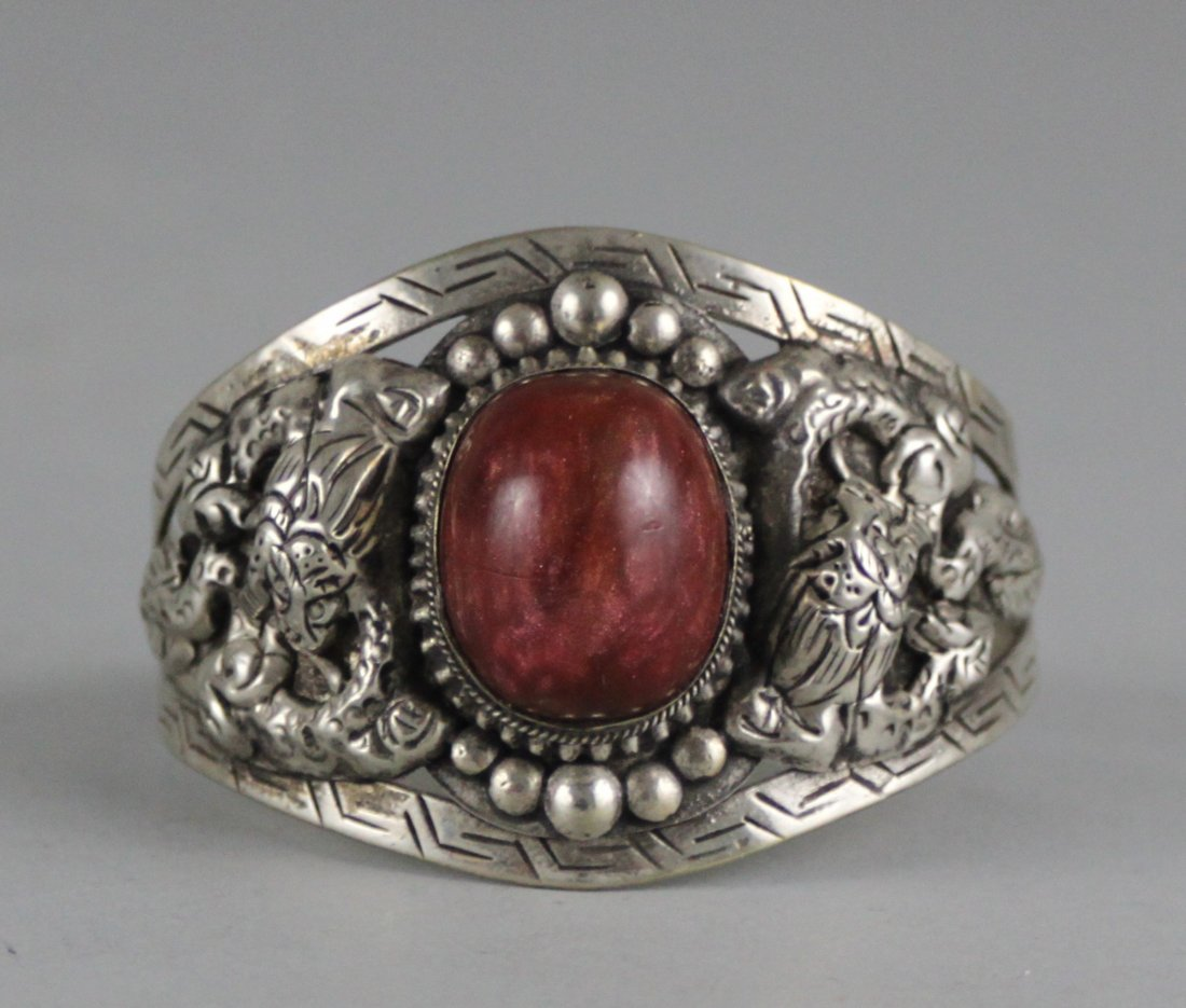 Tibetan Nickel Silver Bangle Bracelet Red Cabachon