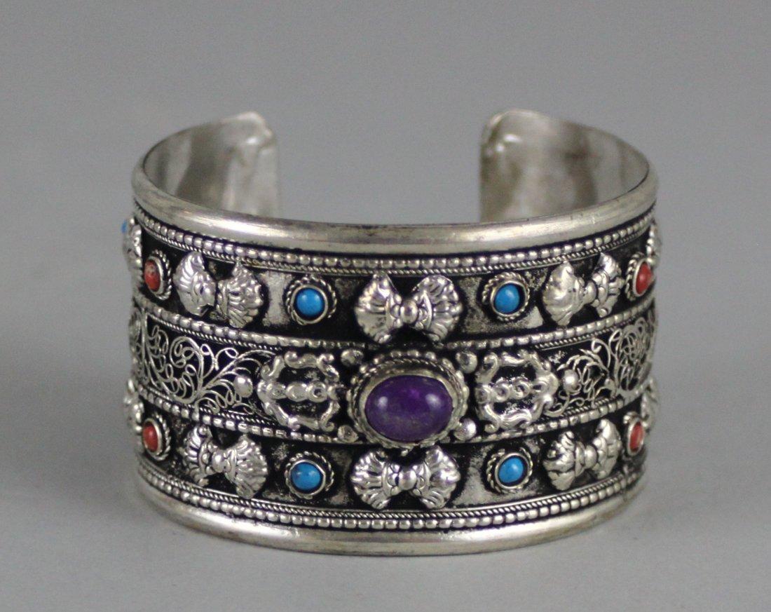 Tibetan Nickel Silver Bangle Bracelet w/ Cabachon Stone