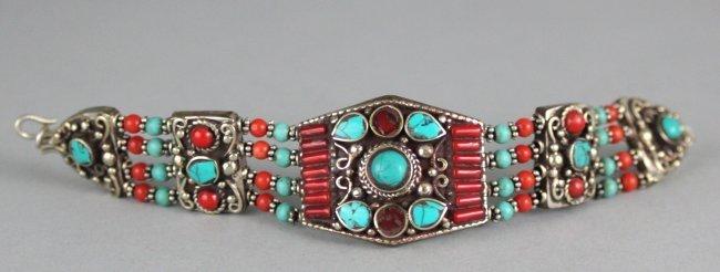 Beautiful Tibetan Silver Bracelet W Turquoise & Coral