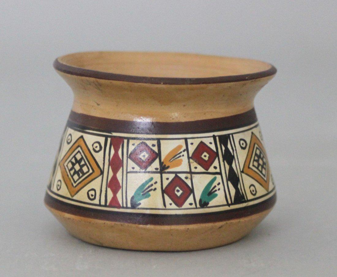 Painted Carved Wood Vase Made in Peru