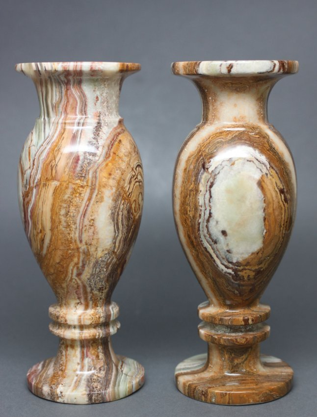 Set of 2 Onyx Small Vases Hand Carved Italy