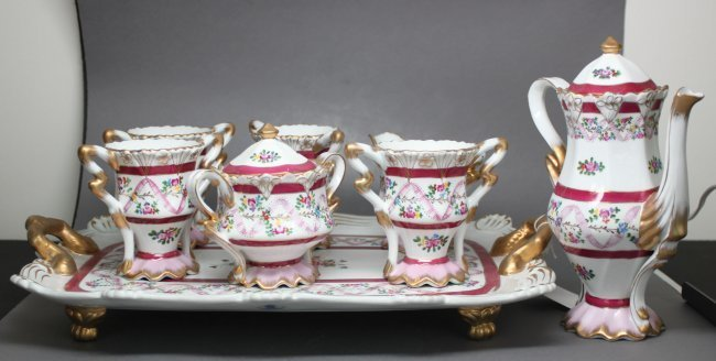 English Porcelain Tea Set of Eight w/ Tray from England