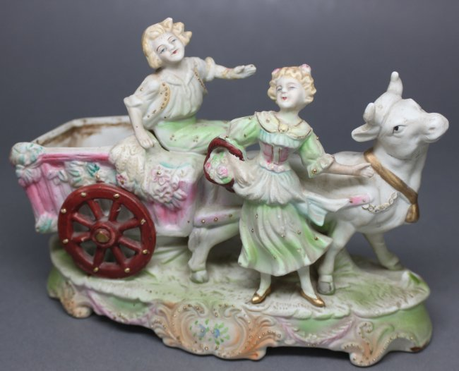 German 19th Century Boy and Girl with Carriage & Ox