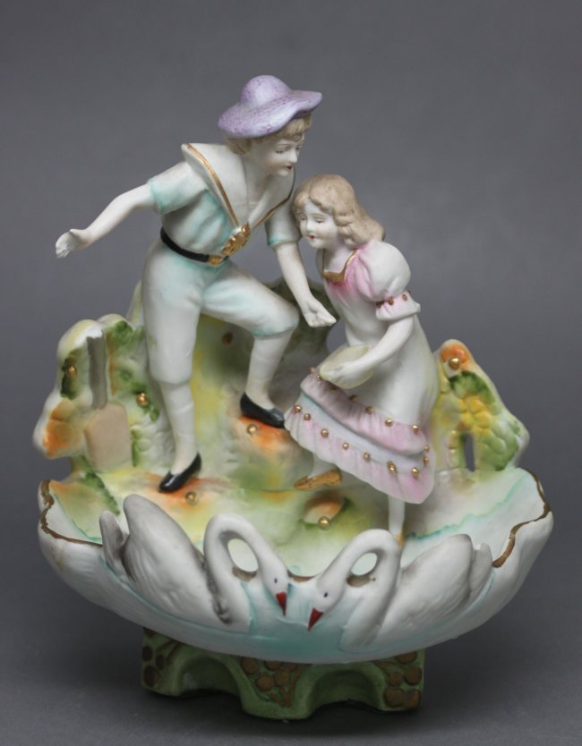 German Boy & Girl in Porcelain Swan Bowl