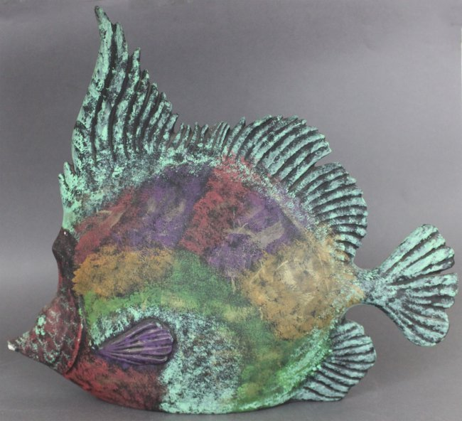 Colorful Porcelain Tropical Fish Sculpture