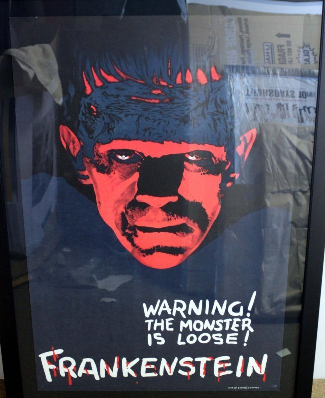 Frankenstein Movie Poster Warning the Monster is Loose