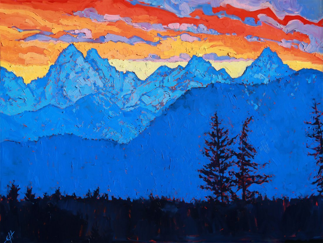 """Blue Streak"" 4ft X 3ft  oil on canvas by Erin Hanson"