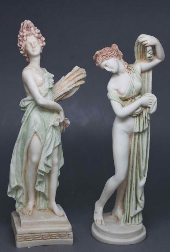 Set of 2 Porcelain Greek Goddesses Nude