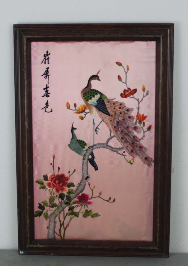 Chinese Framed Peacocks In Tree Framed Embriodery - 2