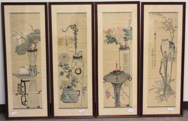 Chinese Four Seasons Water Color Paintings Early 1800's
