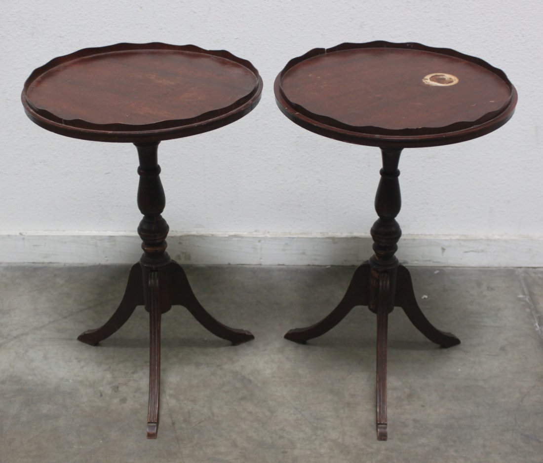 Antique Pair Round walnut table w spindle Sheraton legs