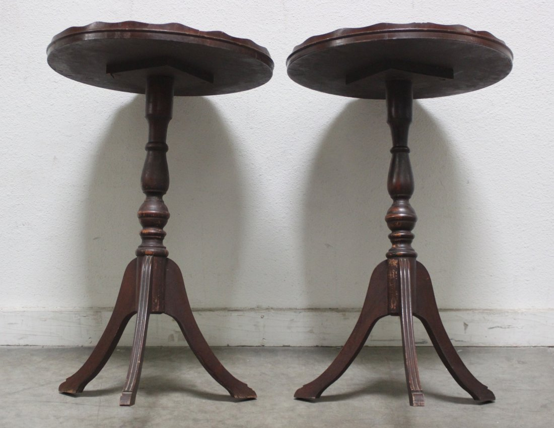 Antique Pair Round walnut table w spindle Sheraton legs - 2