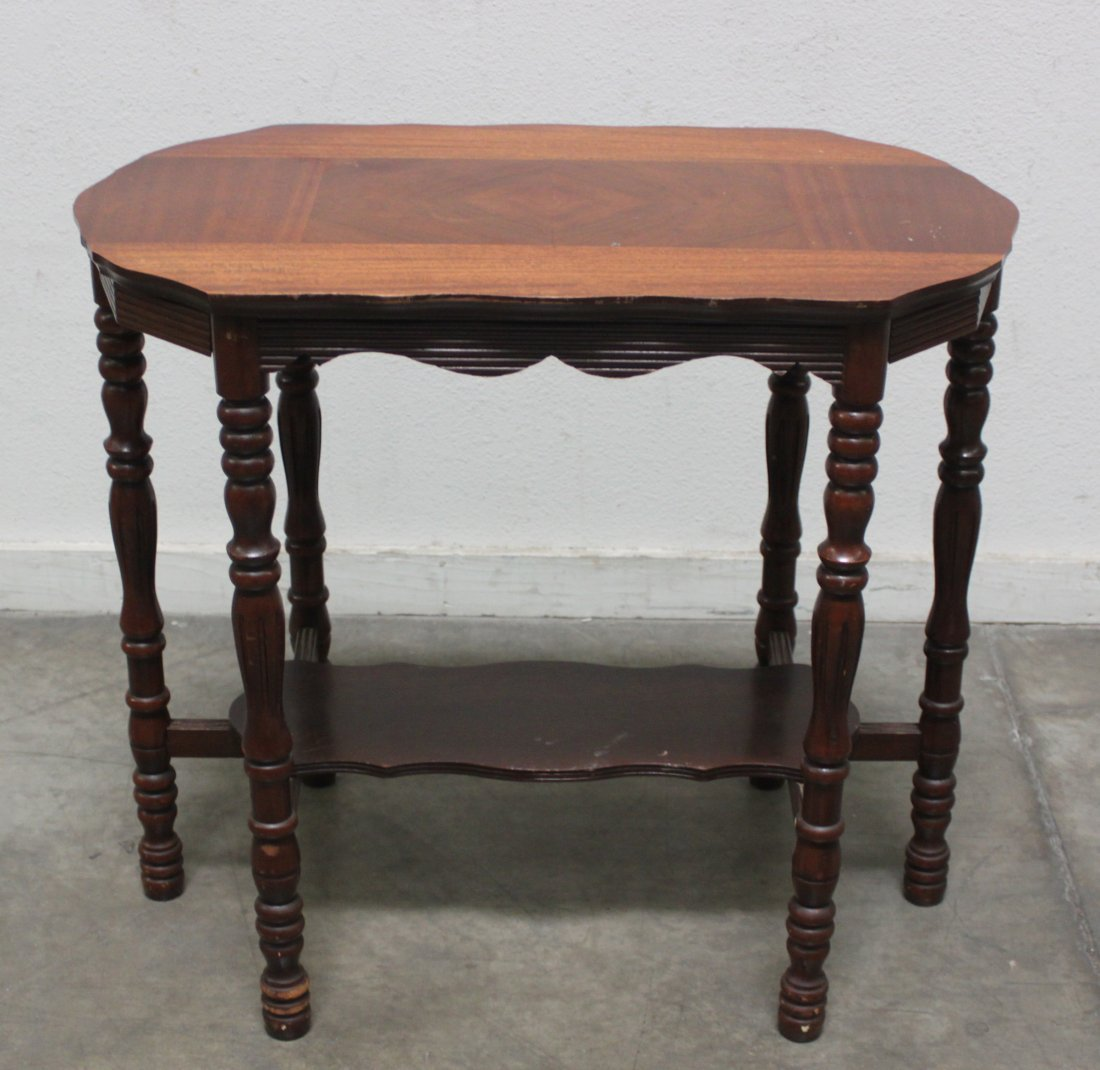 6 Leg 19th C Side Table Walnut inlay w bottom shelf