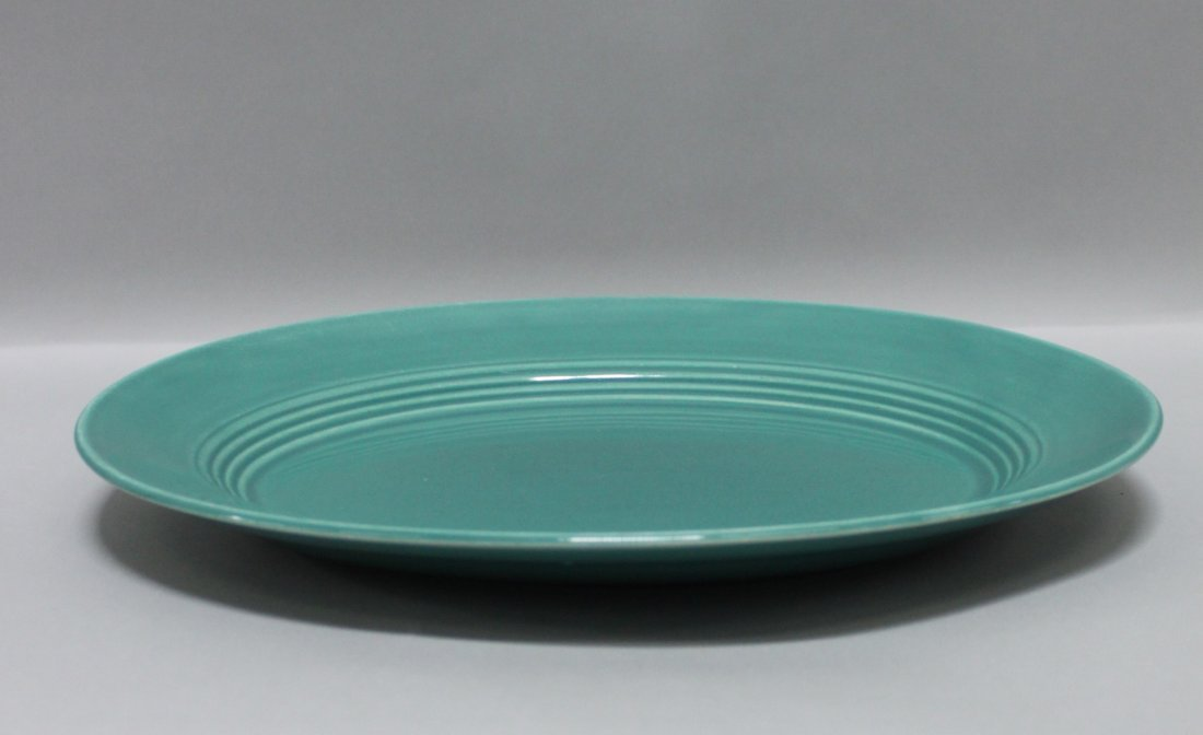Antique Porcelain Platter Green Fiesta Ware