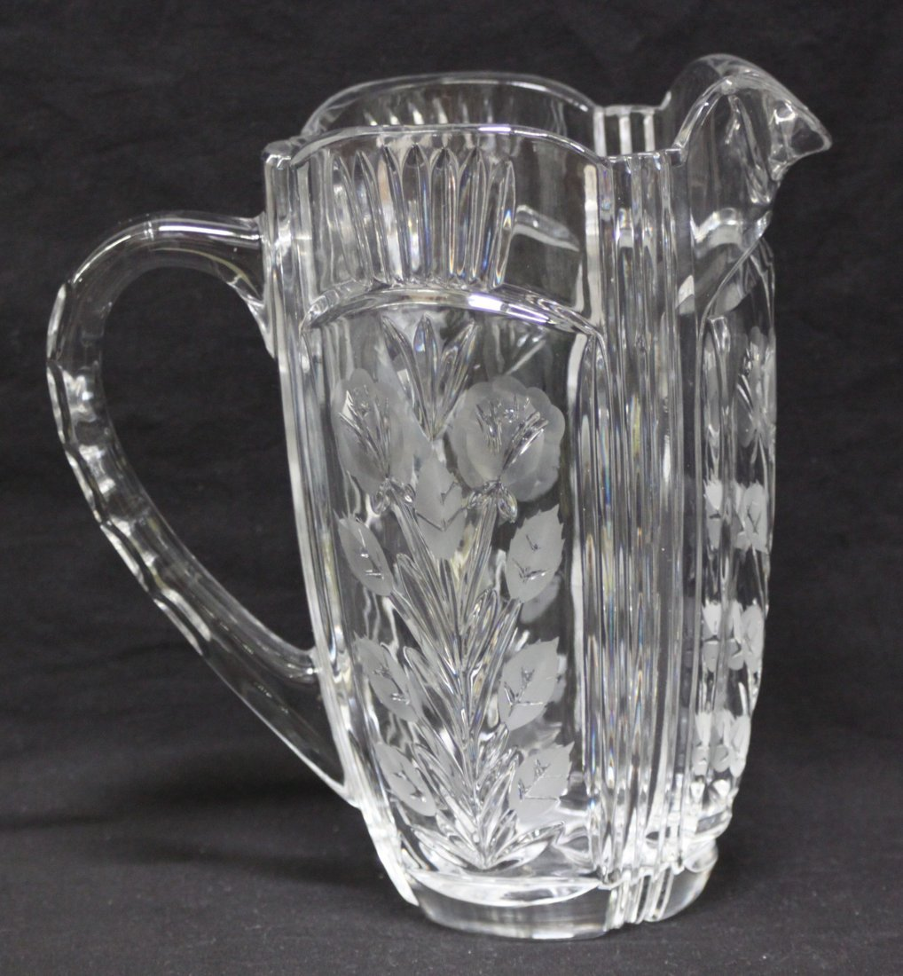 Heavy Depression Glass Clear Water Pitcher 8.5""