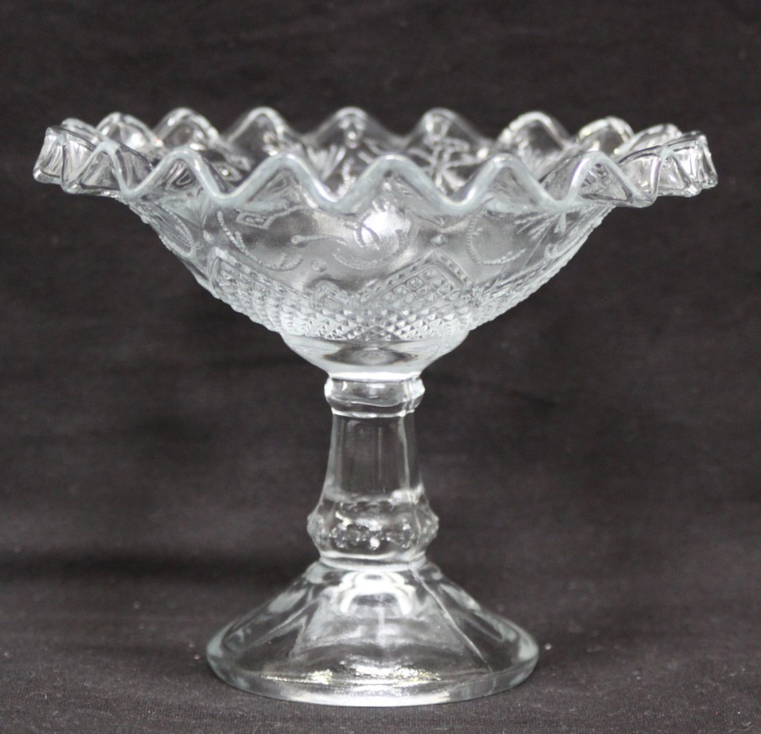 Antique Depression glass Fluted Pedestal Compote