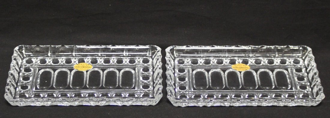 Pair Vintage German Lead Crystal candy trays