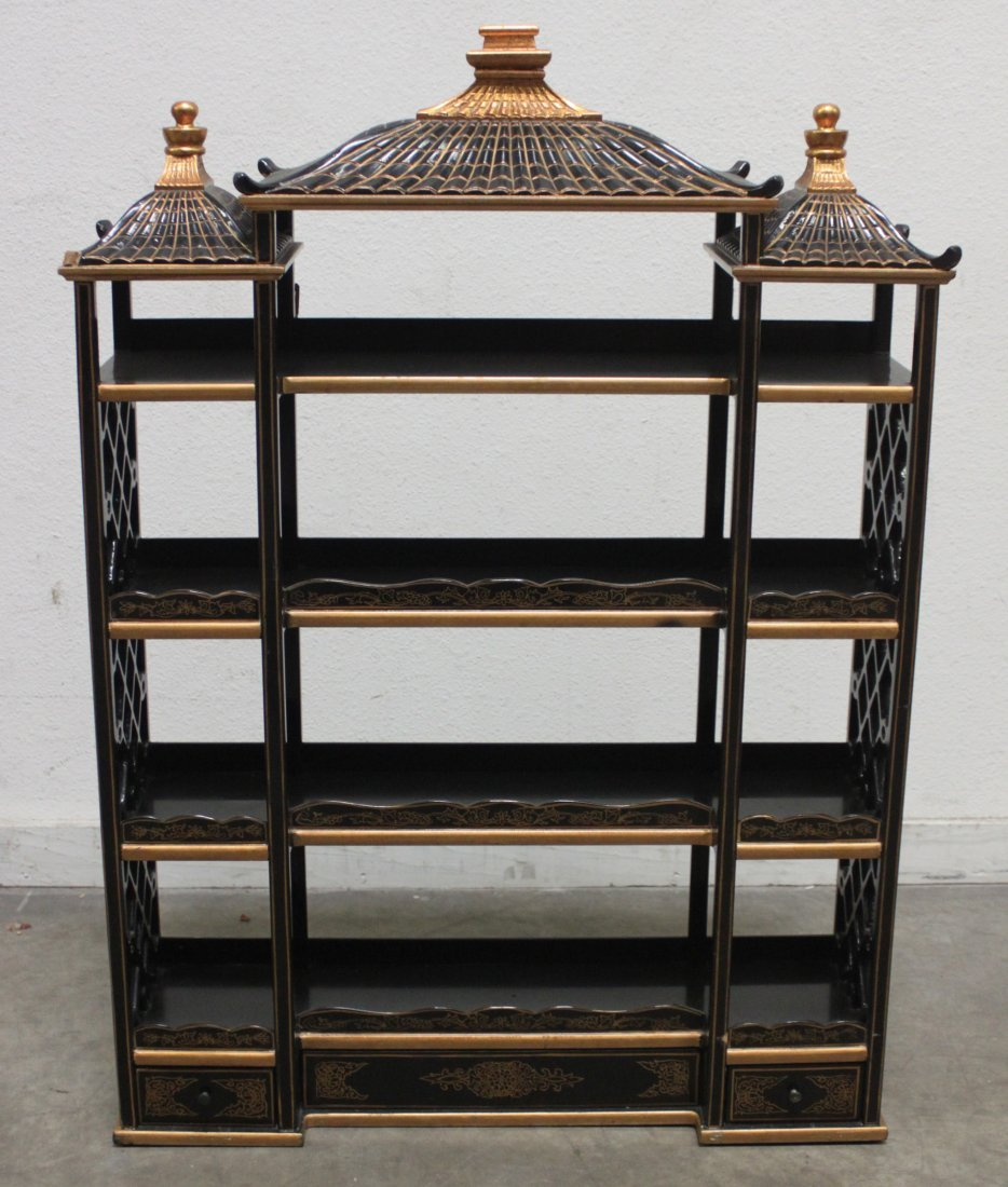 Wood Black lacquer Gilded Asian wall Curio shelf