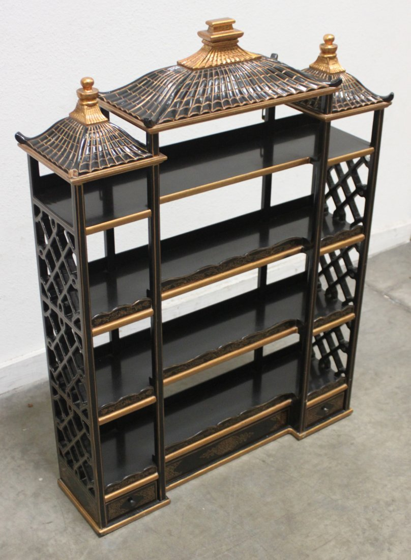 Wood Black lacquer Gilded Asian wall Curio shelf - 2