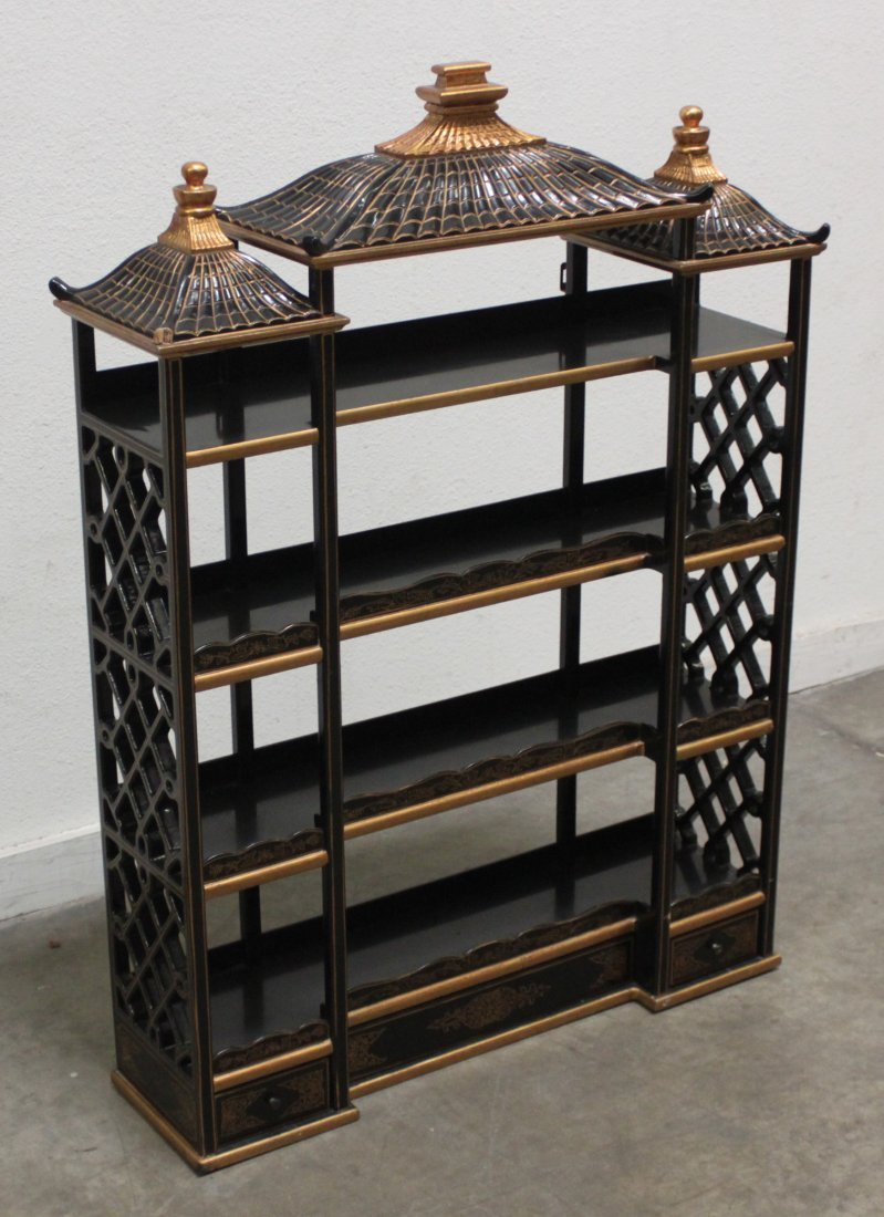Wood Black lacquer Gilded Asian wall Curio shelf - 3