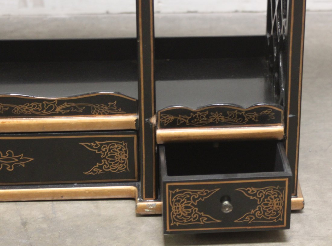 Wood Black lacquer Gilded Asian wall Curio shelf - 5