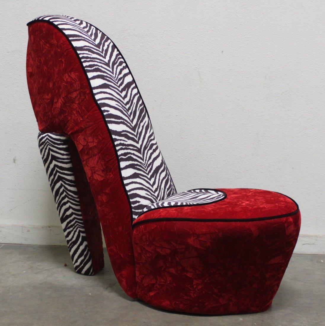 Zebra Print High Heel Shoe Chair Red Velvet